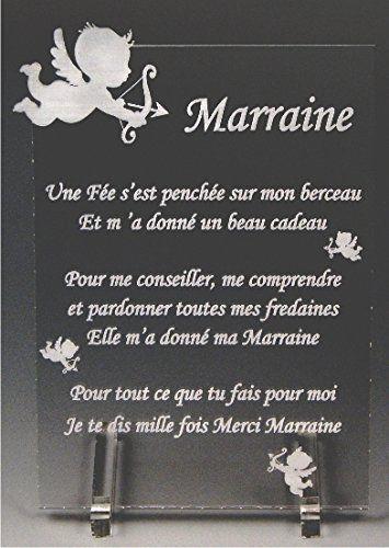 1 poème pour PARRAIN + 1 Poème pour MARRAINE avec 2 Boîtes Cadeaux Taille : 10,6cm x 15,3cm Matière : Plexiglass