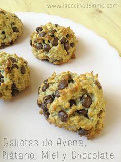 Galletas Avena, Plátano, Miel y Chocolate (receta) / Oatmeal, Banana, Honey and Chocolate chips cookies recipe