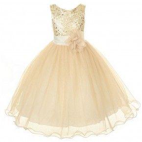 Kids Dream Little Girls Gold Sequin Bodice Floral Overlaid Flower Girl Dress 2-6
