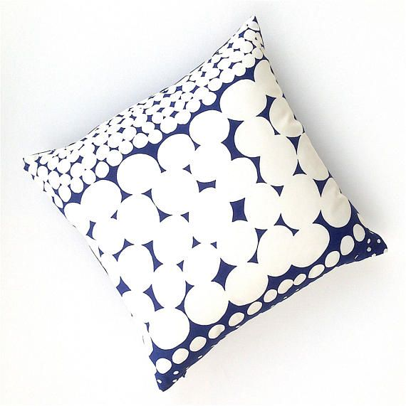 White and Blue Cushion Cover. Geometric White Cushion.
