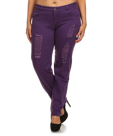 Another great find on #zulily! Purple Distressed Skinny Pants - Plus Too…
