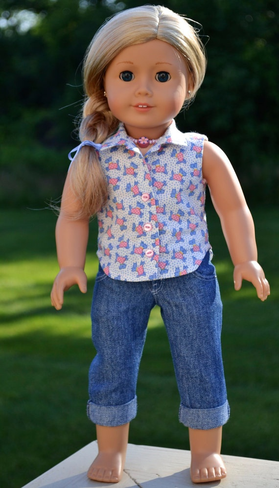 Light Denim capris, Scotty Dog blouse & necklace by Simply18Inches, $53.00