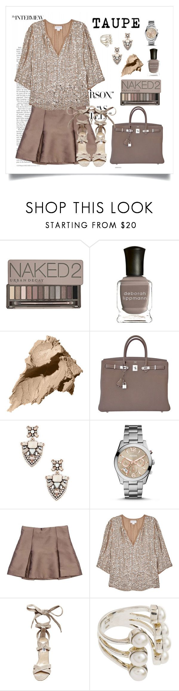 """""""Taupe"""" by helloume ❤ liked on Polyvore featuring Urban Decay, Deborah Lippmann, Bobbi Brown Cosmetics, Hermès, Sole Society, FOSSIL, Marc Jacobs, Velvet by Graham & Spencer, Steve Madden and taupe"""