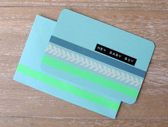 Postcard  Baby Boy  Washi Tape  Dymo Label  Handmade door psDre, €2.75