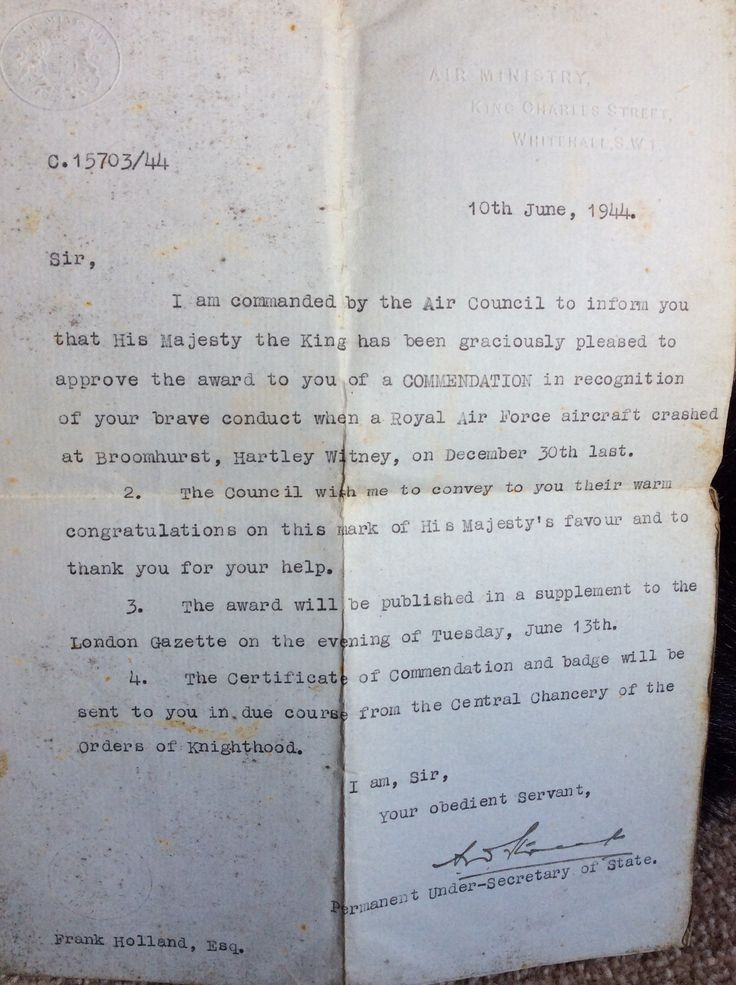 Letter From King To My Grandad Detailing Commendation For Bravery