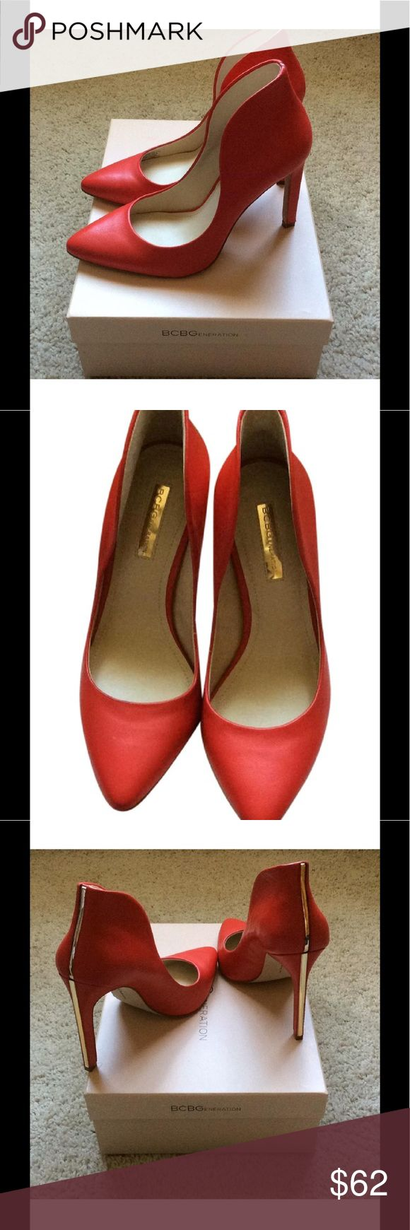 BCBG PUMPS HEELS BCBGENERATION coral pumps with gold up heel of shoes. New!!!! Great shoes to coordinate with your summer outfit. BCBGeneration Shoes Heels