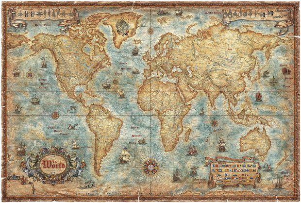 Wereldkaart - Modern World Antique Map - Fotobehang & Behang - Photowall