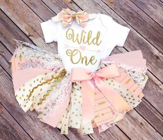 FlyAwayJo Wild One First Birthday Outfit // Optional Fabric Tutu Top Headband Banner // Any Color/Age // Pink Gold Peach White // Baby Toddler Girl