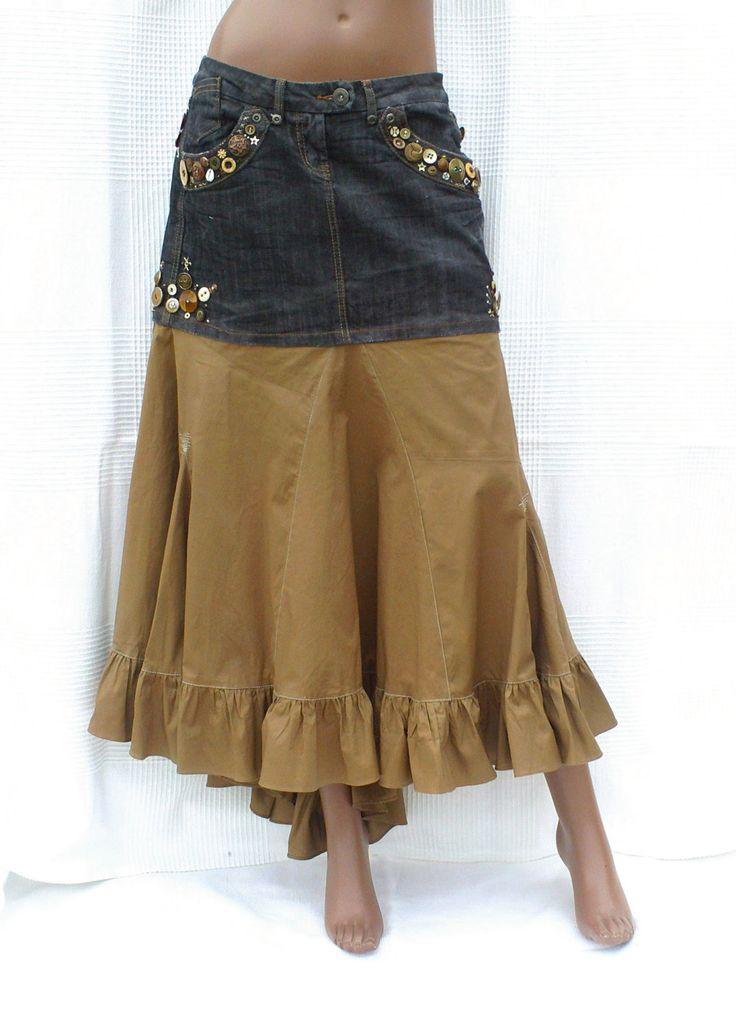 Du Noir et du Bronze - Jupe bi-matière, jupe longue en jean et coton, jupe ornée de boutons, jupe customisée, mode écologique, recyclage de la boutique DLFine sur Etsy