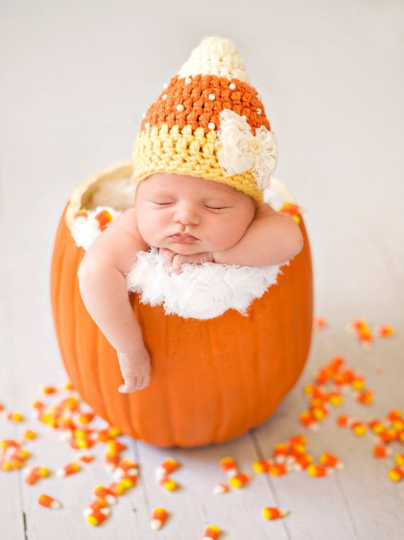 Baby Candy Corn Hat Fall Autumn Hat by whimsylaneboutique on Etsy → I need a big pumpkin to put joey in, haha
