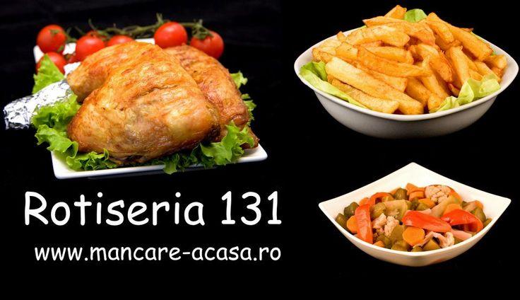 Pulpa de pui la rotisor,cartofi prajiti si salata de muraturi asortate. www.mancare-acasa.ro