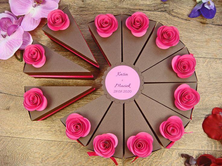 papierowy tort z pralinkami - prezent dla gości - Jotstudio - Prezenty dla gości