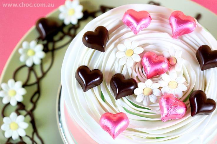 Pink Strawberry Hearts   www.choc.com.au