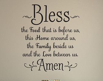Bless the Food Before Us Wall Decal Kitchen Wall by VinylDezignz