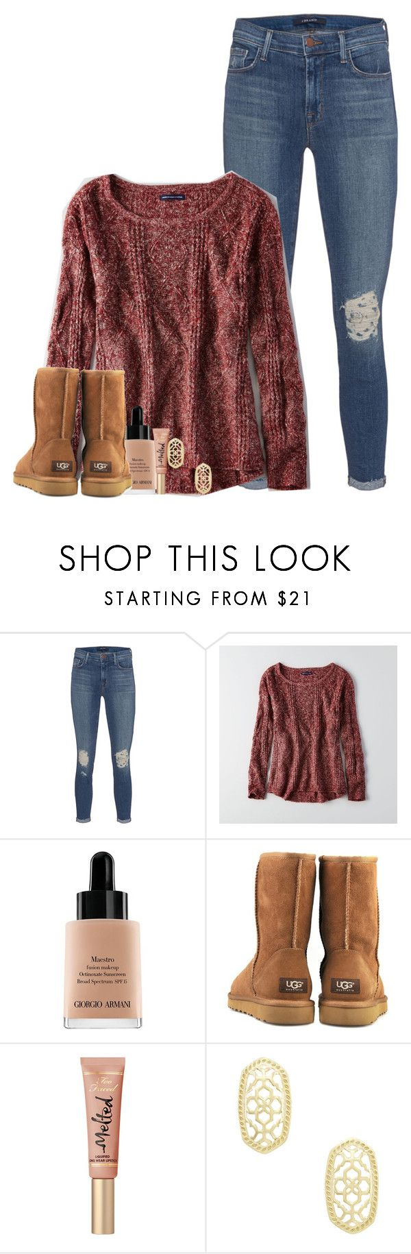 """Tag!!"" by laurenmf ❤ liked on Polyvore featuring J Brand, American Eagle Outfitters, Giorgio Armani, UGG Australia and Kendra Scott"