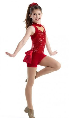 GLITTER-GIRLS-Boy-Shorts-Unitard-RED-Jazz-Tap-Dance-Costume-Adult-Child-NEW