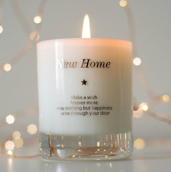 A beautifully scented new home candle with a unique sentimental touch, perfect to light on moving in day or at a house warming party.  Our new home candle reads... Make a Wish In Your New Home Make a wish and forever more, may nothing but happiness come through your door  This candle makes the perfect gift for a friend or loved one whos recently moved house. Maybe theyve purchased their first home or are celebrating with a house warming party. Theres no better way to say congratulations than…