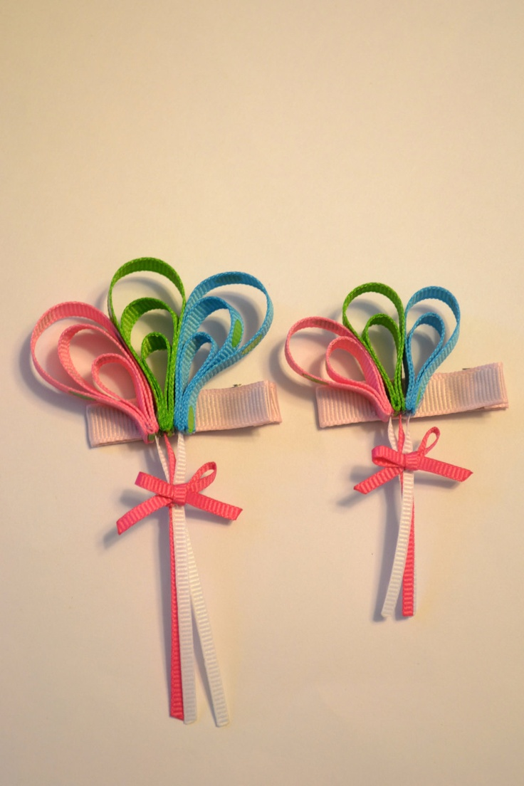 Balloon Ribbon Sculpture Hair Clip - Pink, Green, Blue - Birthday, Party, Celebrations. $4.00, via Etsy.