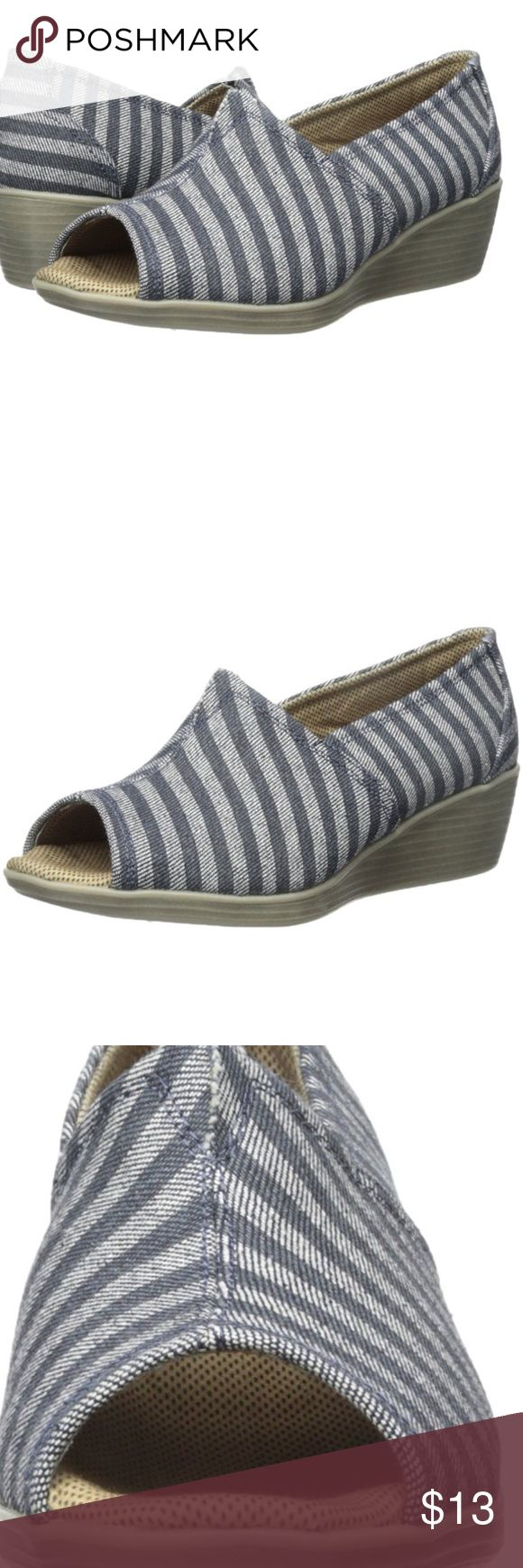 """Eastland Brooke Style Peep Toe Wedge denim upper. Eastland exclusive active memory foam comfort insole supports and conforms to the curves of your foot.Heel measures approximately 1.75"""" Eastland Shoes Wedges"""