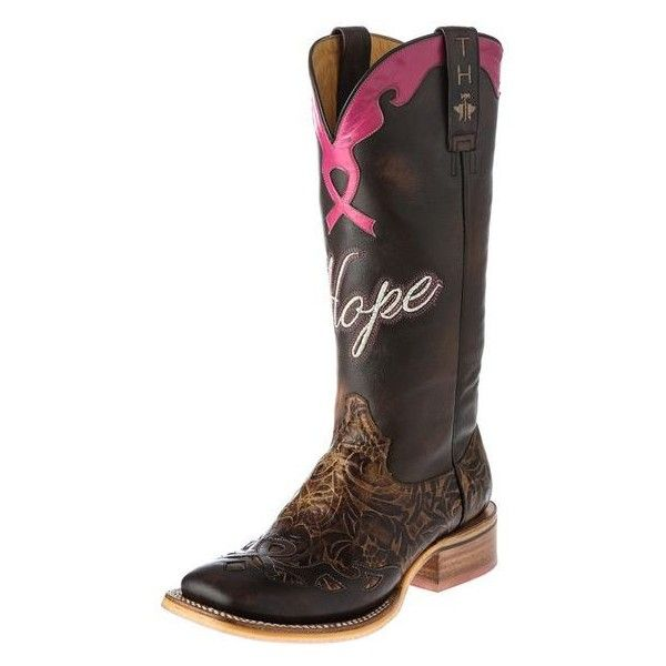 Shop Women's Tin Haul Hope Brown Breast Cancer Awareness Cowgirl Boots ❤ liked on Polyvore featuring shoes, boots, brown cowboy boots, western style boots, cowboy boots, cowgirl boots and brown boots