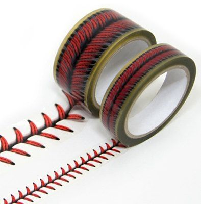 $17.90 via etsy. Are you kidding me???? Baseball stitches design tape set. This would be cool for the baseball wall I saw for the boys. No need to paint the stripes. by lizzie