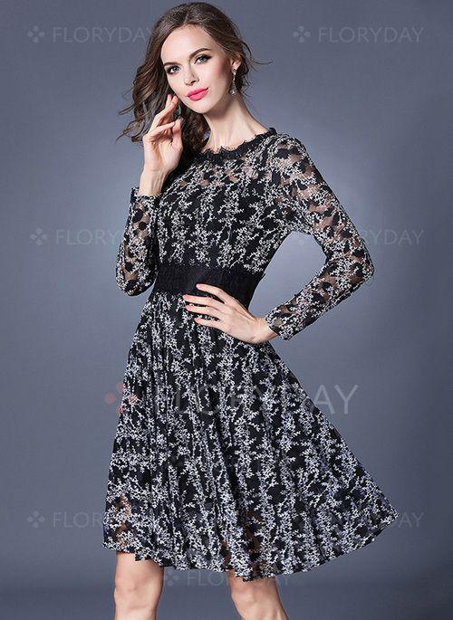 Vestidos - $59.10 - Vestidos Encaje Floral Hasta las rodillas Manga larga (1955131715)