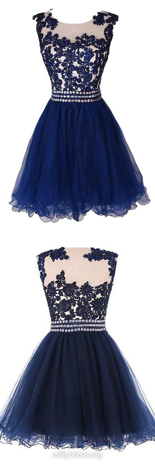 Cute Blue Prom Dresses,A-line Scoop Neck Short Cocktail Dresses,Tulle Short/Mini Homecoming Dresses,Appliques Lace Formal Party Gowns