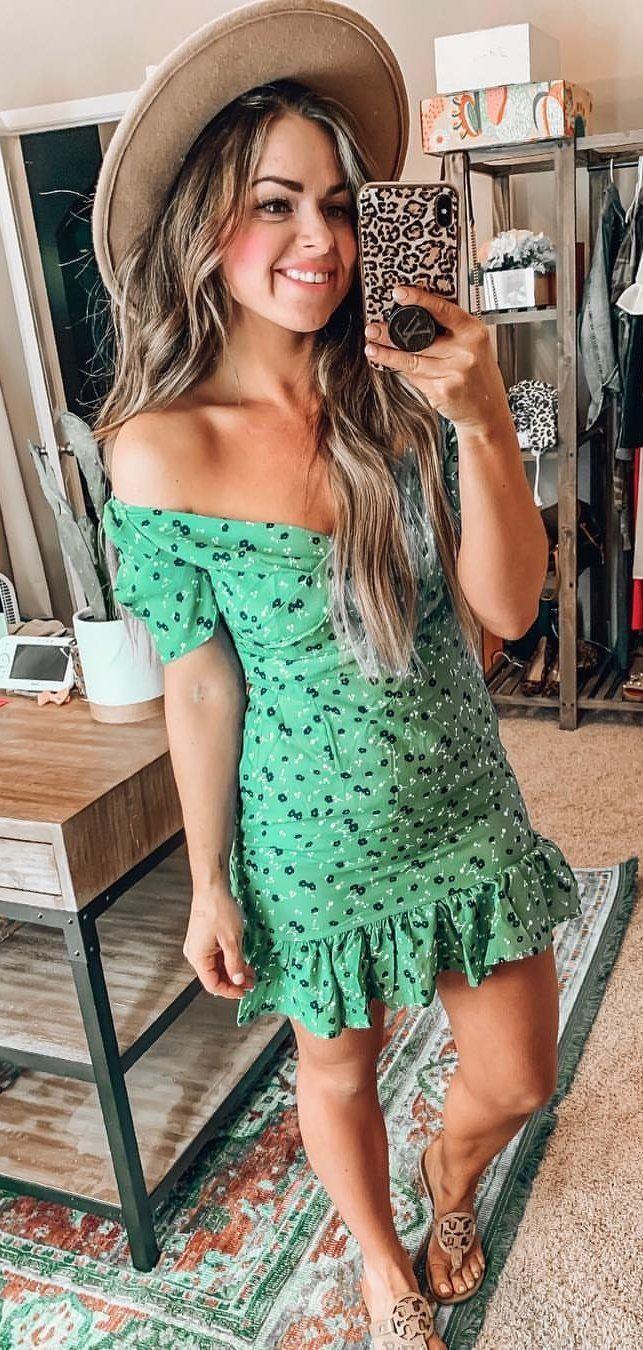 green and black floral sleeveless dress #spring #outfits