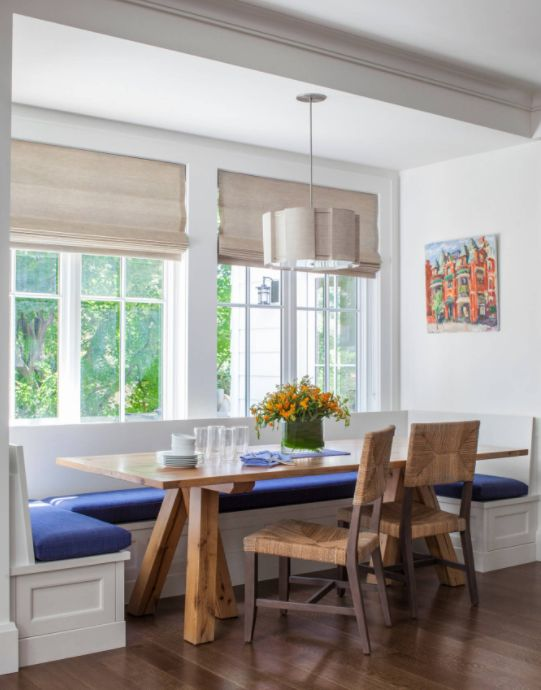 Picture Perfect Breakfast Nook With Flat Roman Shades, Pendant Light, And  Rustic Oak Table