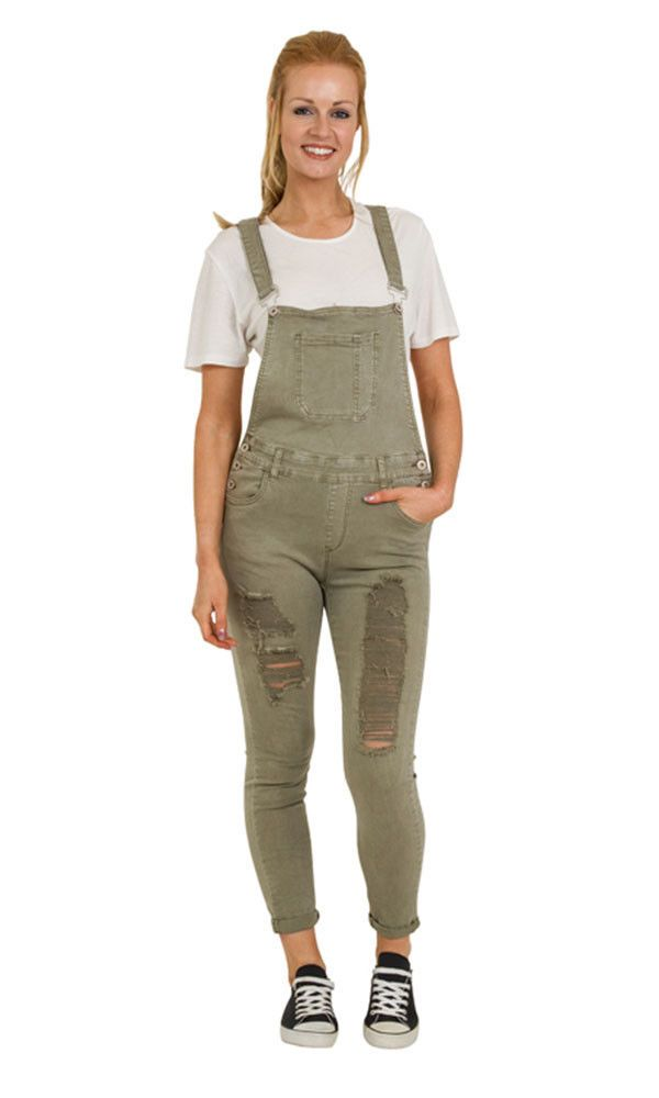 Green Distressed Denim Bib Overalls - Skinny Fit Ladies Dungarees Rips Abrasions