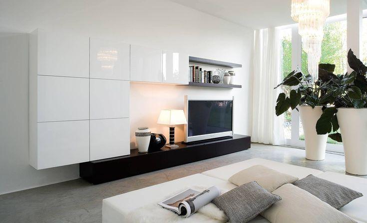 Современная корпусная мебель на заказ для гостиной от компании WoodRoom. Cтенки и мебель для ТВ зон в гостиную по индивидуальным проектам.