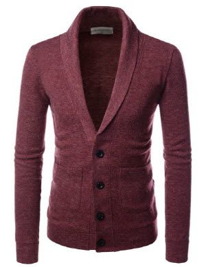 (NKCD132) TheLees High Quality Shawl Collar Basic Knit Casual Cardigan Sweaters