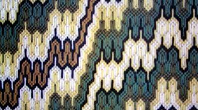 voorbeeld van Florentijns borduurwerk. Dit patroon is van een zevntien eeuwse stoel uit het Bargello museum in Florence.