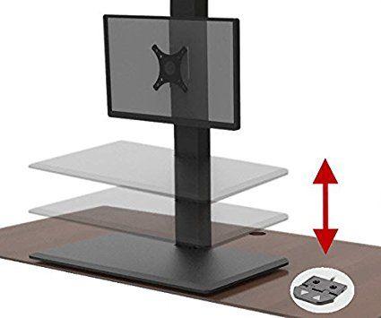 Surface ajustable pour travailler debout ou assis: AnthroDesk ErgoConvert Electric Standing Desk Extender / Converter (Black)