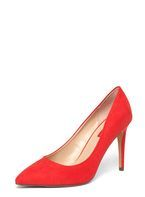 Womens Red 'Emily' Pointed Toe Court Shoes- Red