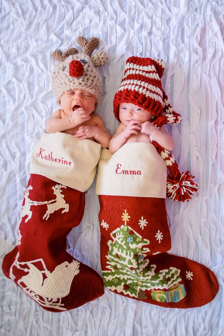 Twin newborn Christmas photo. Stockings from Pottery Barn, reindeer and elf hat from Etsy.com.