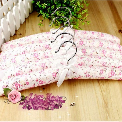 5PCS Romantic Pink Flower Style Cloth Padded Rotatable Clothes Hangers Sponge