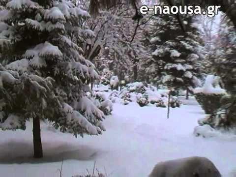 snowing @ Naousa city [video]