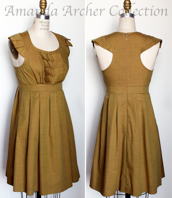 Brown Mustard Bridesmaid Dress