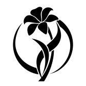 : Black silhouette of lily flower Vector illustration Banco de Imagens