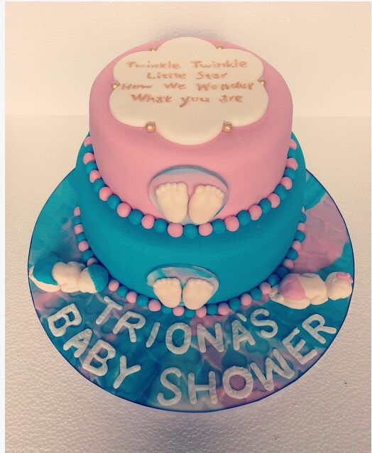 Baby Shower Cake. Twinkle Twinkle Little Star. How We Wonder What You Are.