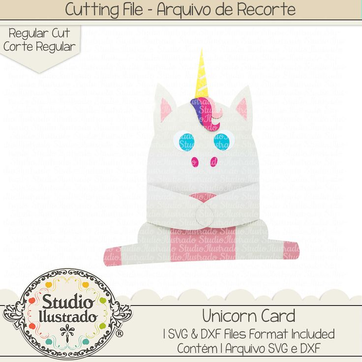 Unicorn Card, Unicorn, Card, Cartão Unicórnio, cartão, unicórnio, arco-íris, rainbow, arquivo de recorte, corte regular, regular cut, svg, dxf, png, Studio Ilustrado, Silhouette, cutting file, cutting, cricut, scan n cut
