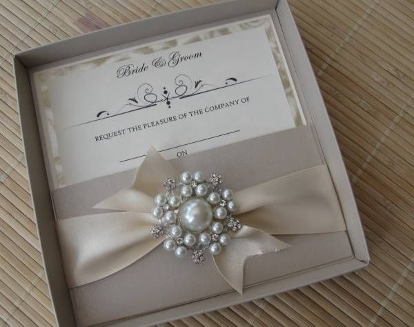 42 best wedding invitation ideas images on pinterest invitation luxury wedding invitation with large vintage pearl cluster matching box stopboris Image collections