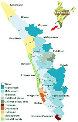 Map of Kerala, an Indian state located on the Malabar coast of SW India