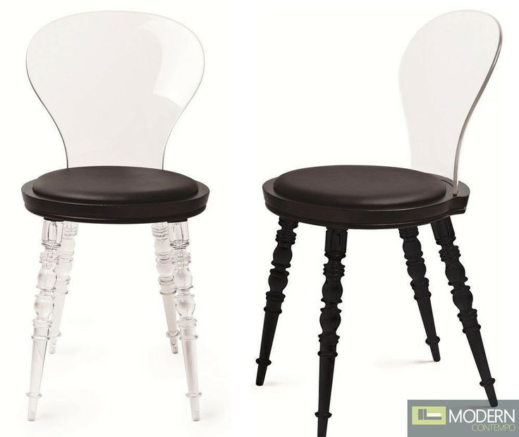 Modern Classic Black And Clear Acrylic Johan Dining Chair With Spindled Legs