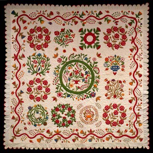Album Quilt, Created by Elizabeth A Hart and C. A. Covirt. Ohio or Pennsylvania, 1880–1890