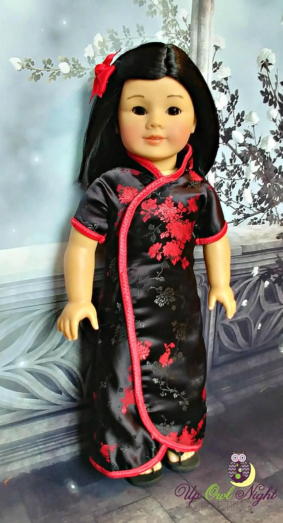 Chinese New Year Cheongsam in Black with Red Flowers fits American Girl #pixiefaire