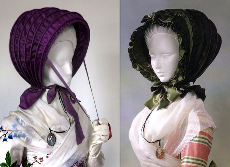 To protect the elaborate hairstyles, a lady could wear the calash bonnet, which had thin cane supports sewn into channels in the silk hood to keep the high round shape safely over her hairdo. Reproduction figure, left, inspiration piece from the Kyoto Costume collection, right. The calash could be brought forward by holding the ribbon, or left to fall back a bit; for storage, they can fold virtually flat.