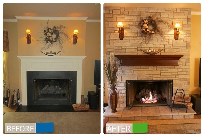A before and after transformation of a bare fireplace ...
