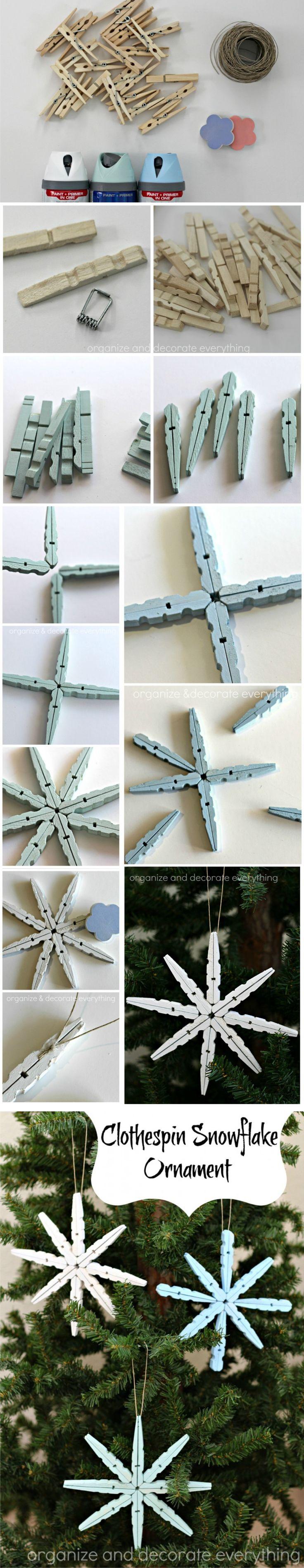 Ingeniosa decoración navideña con pinzas de madera / Via http://organizeyourstuffnow.com/